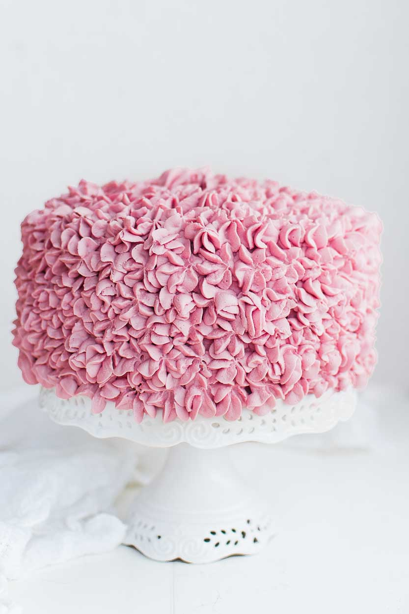 Lemon Cake with Raspberry Whipped Cream Frosting