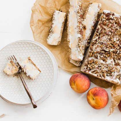 Frozen Gingered Peach Pecan Crumble Bars