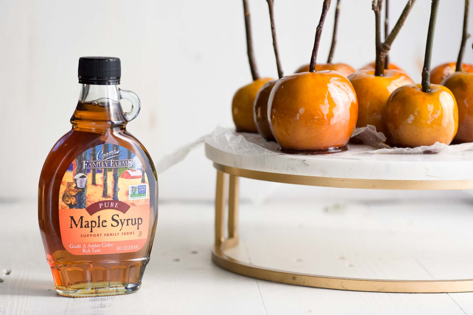 Maple syrup with Maple Candied Apples