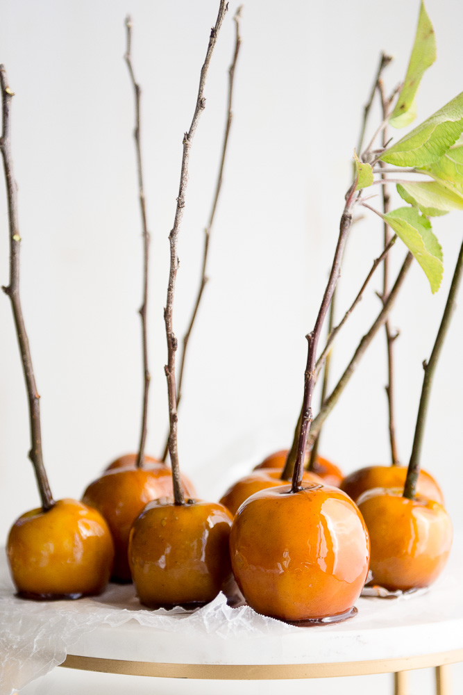Maple Candied Apples on a marble stand