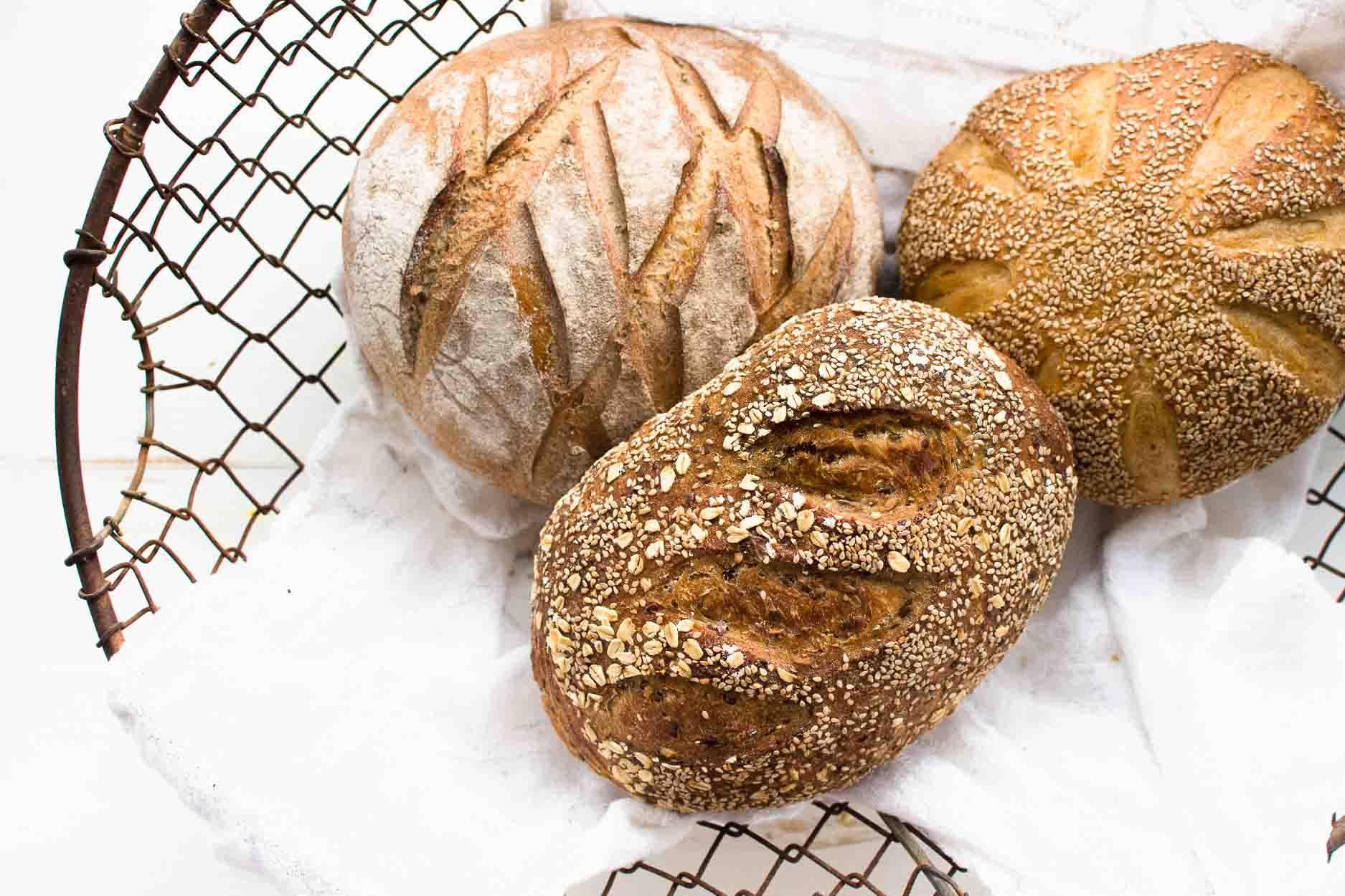 Artisan Sourdough Bread in a Wire Basket