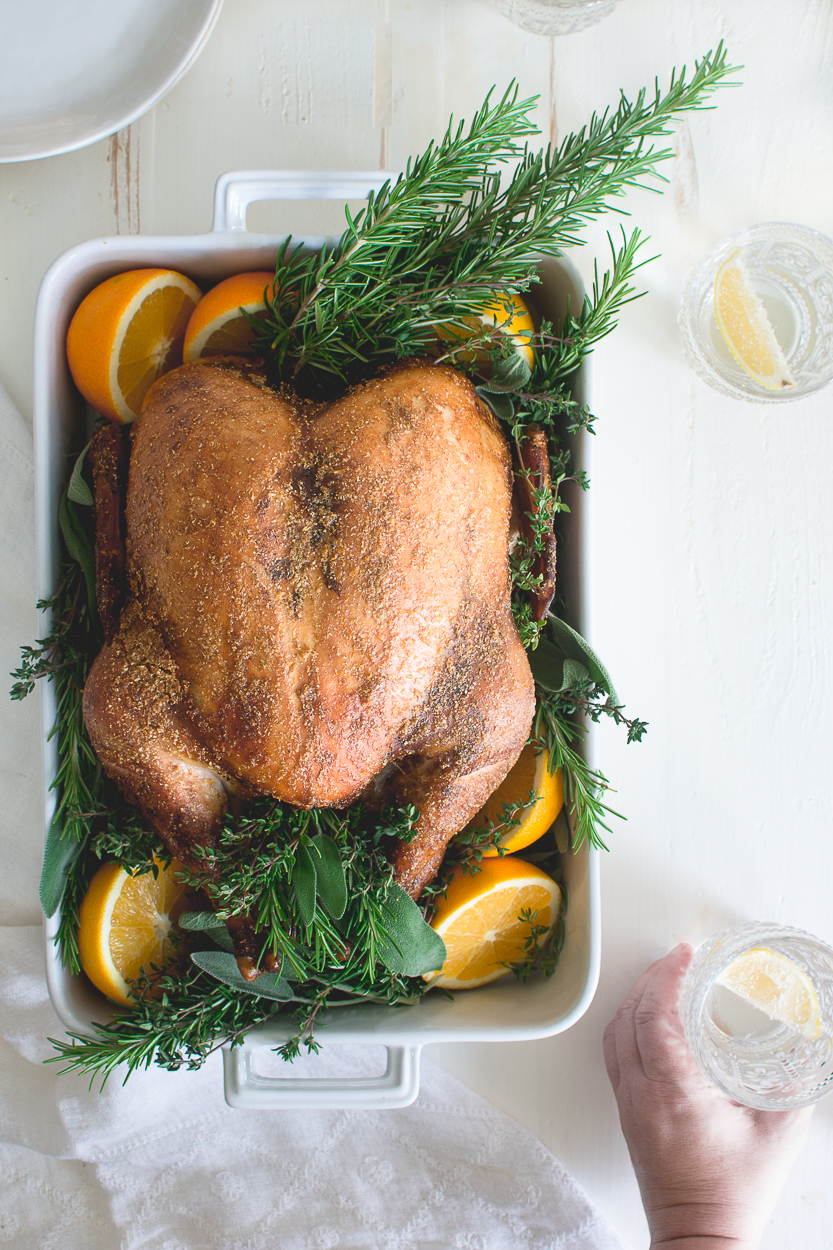 Maple Brined Turkey with Maple Citrus Herb Butter