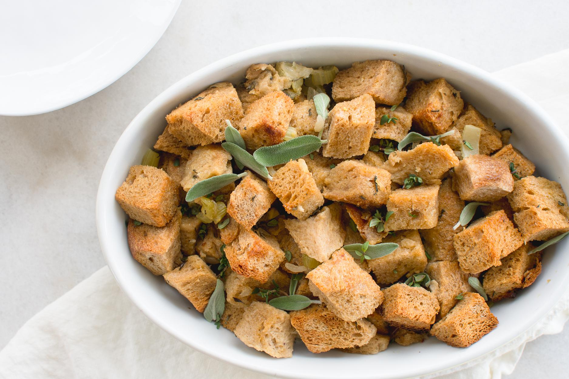 Sourdough stuffing recipe made with fresh garden herbs.
