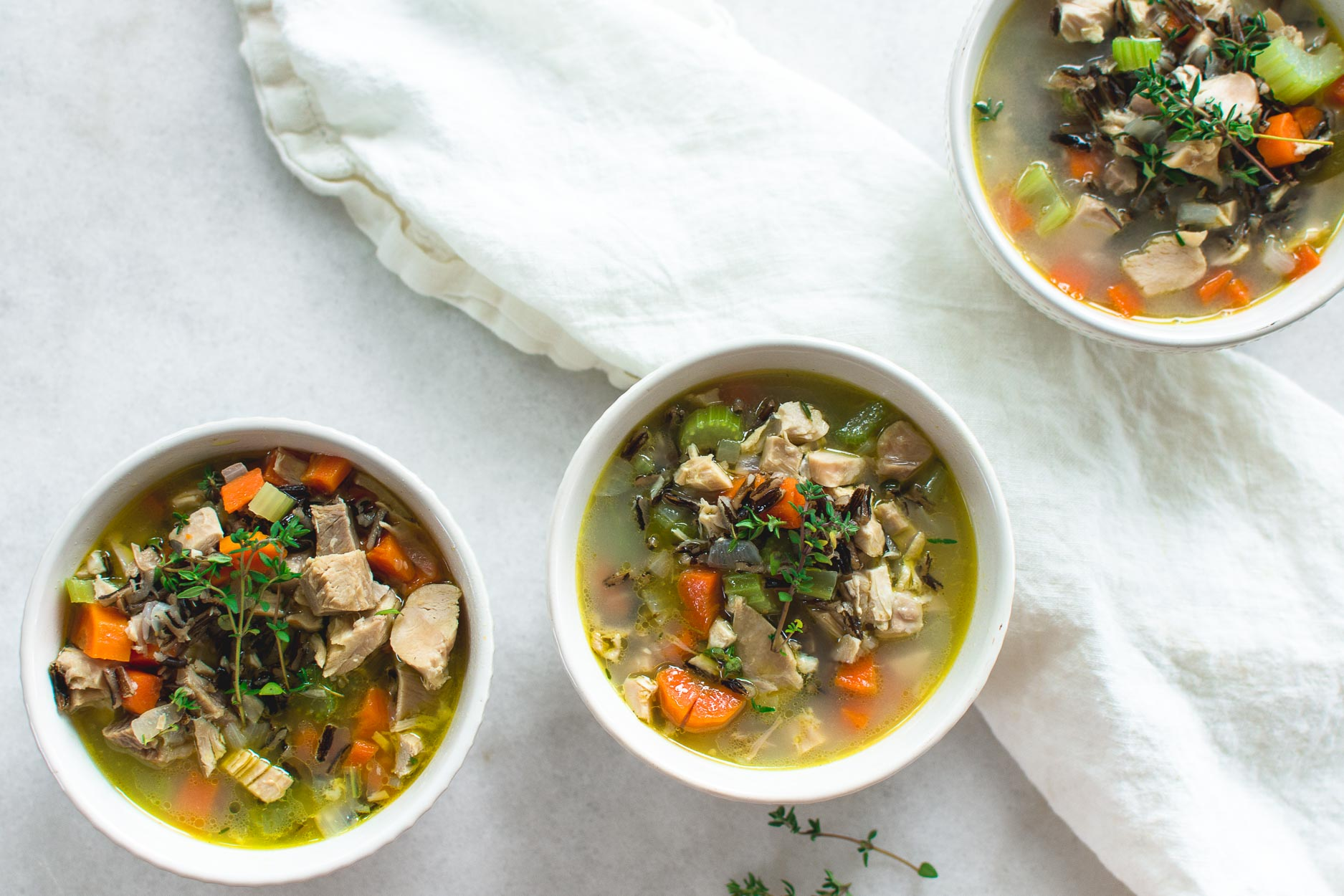 Turkey and Wild Rice Soup made with Plenty of Bone Broth and Vegetables