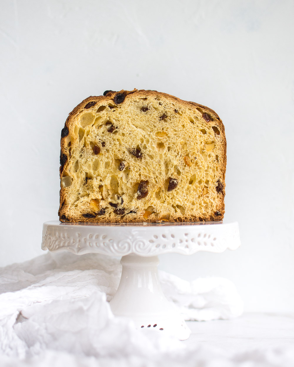 Sourdough Panettone (Einkorn Panettone) made with sultanas, candied fruit and honey.