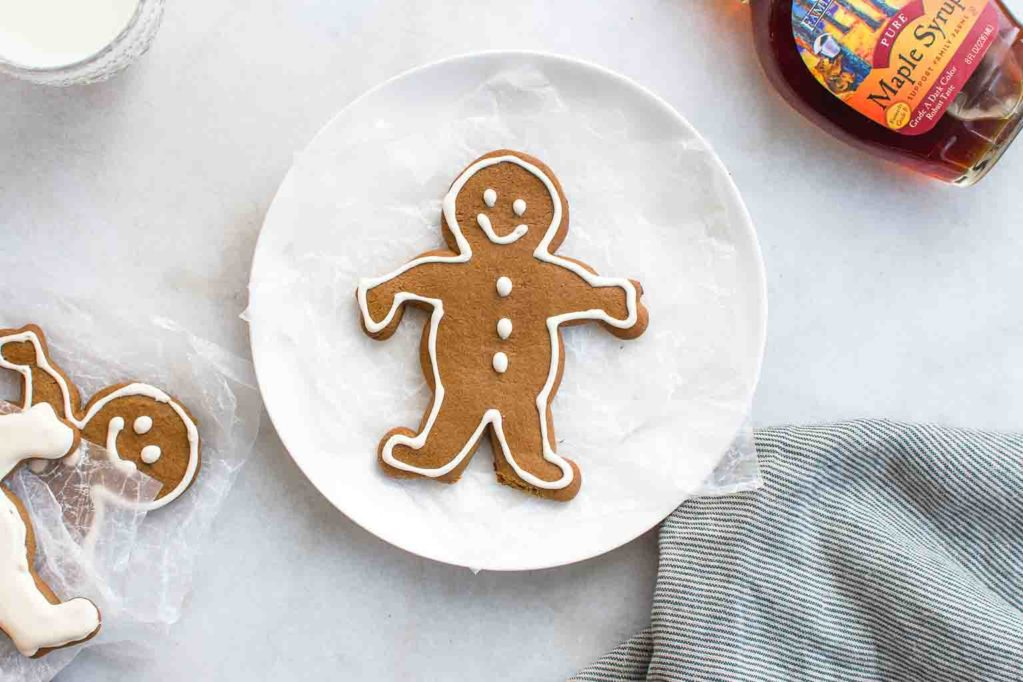 Happy Maple Gingerbread Man on a Plate