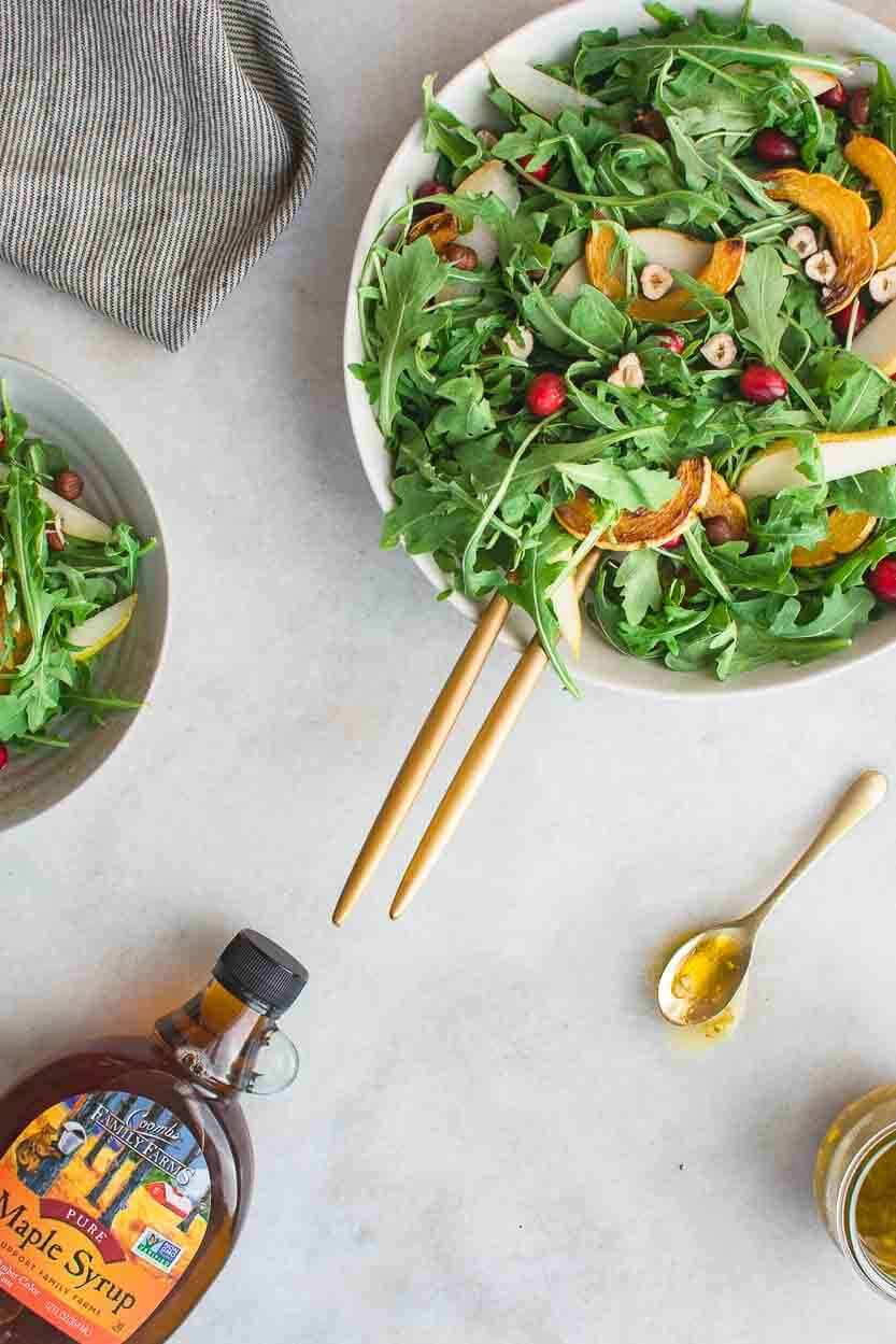 Maple Vinaigrette recipe made with maple syrup, stoneground mustard, apple cider vinegar and olive oil.