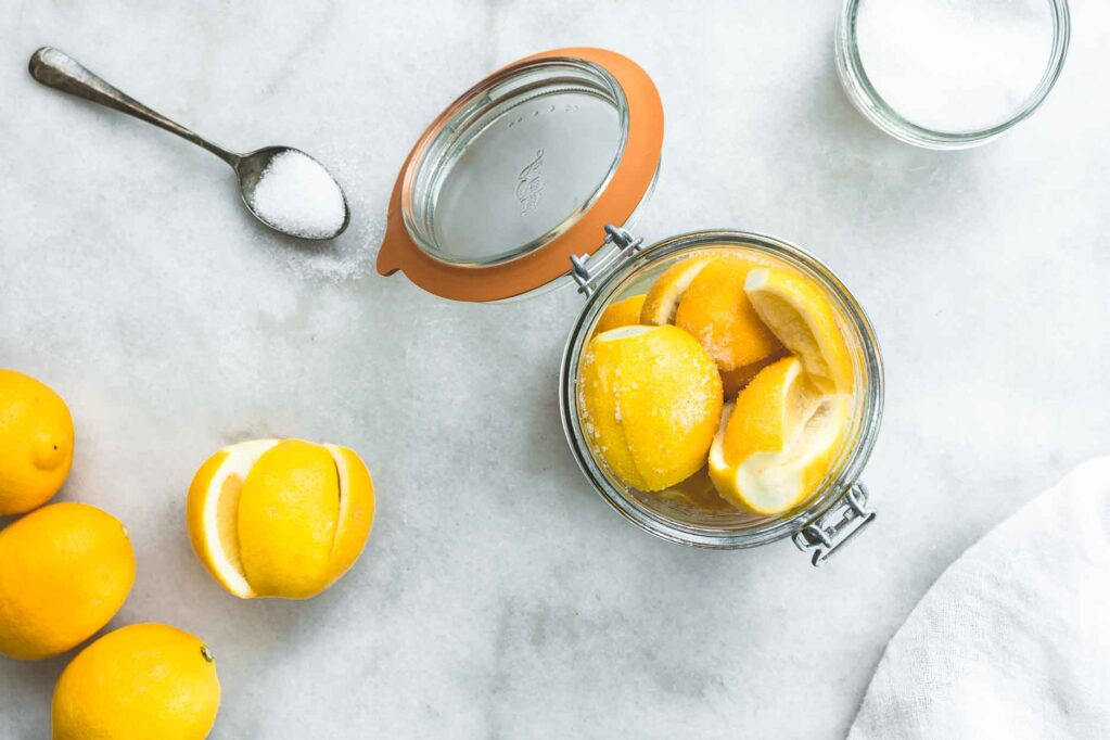 Making Moroccan preserved lemons with lemons and salt